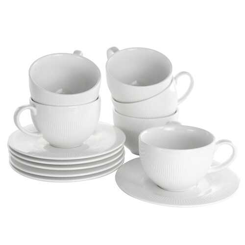 Elama Cafe 12 Piece 8 Ounce Porcelain Cup and Saucer Set in White