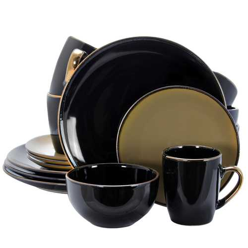 Elama Cambridge Grand 16-Piece Dinnerware Set in Luxurious Black and Warm Taupe with Complete Setting for 4