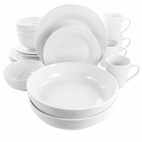 Elama Carey 18 Piece Round Porcelain Dinnerware Set in White