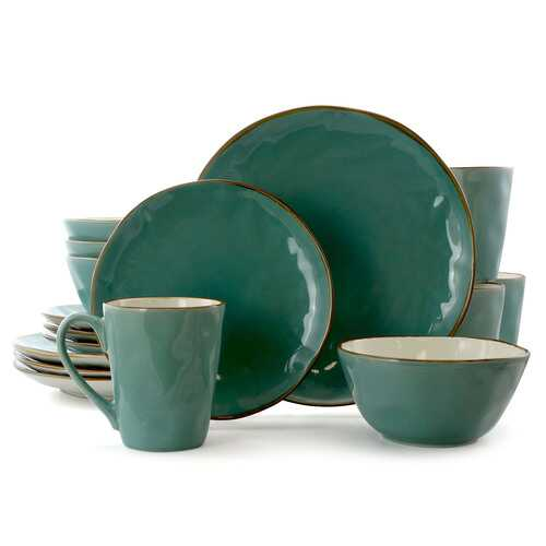 Elama Caribean Tide 16 Piece Luxurious Stoneware Dinnerware with Complete Setting for 4
