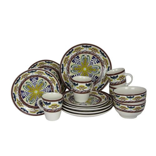Elama Countryside Sunrise 16pc Stoneware Dinnerware Set