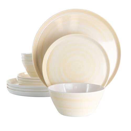 Elama Crafted Clay 12 Piece Lightweight Melamine Dinnerware Set in Cream