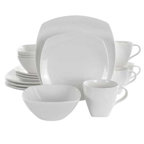 Elama Deluxe Square 16 Piece Porcelain Dinnerware Set in White