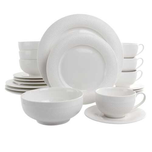 Elama Dione 20 Piece Porcelain Dinnerware Set in White