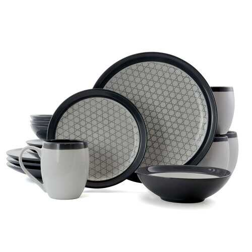 Elama FineLines 16 Piece Luxurious Stoneware Dinnerware with Complete Setting for 4, 16pc