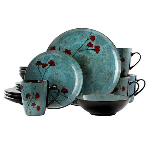 Elama Floral Accents 16 Piece Dinnerware Set in Blue