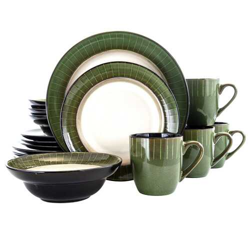 Elama Grand Jade 16 Piece Luxurious Stoneware Dinnerware with Complete Setting for 4, 16pc