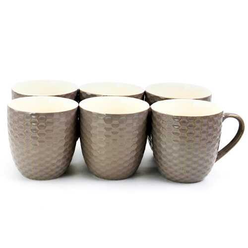 Elama Honeycomb 6 Piece 15 Ounce Round Stoneware Mugs in Deep Purple