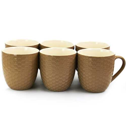 Elama Honeycomb 6 Piece 15 Ounce Round Stoneware Mug Set in Brown.