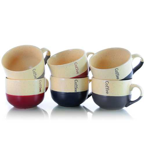 Elama Latte Loft 6-Piece 18 oz. Mug Set, Assorted Colors