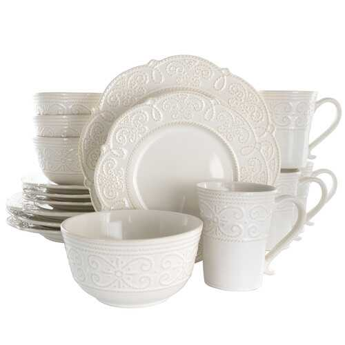 Elama Luna 16 Piece Embossed Scalloped Stoneware Dinnerware Set in White