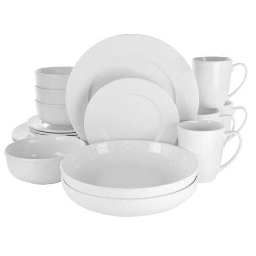 Elama Maisy 18 Piece Round Porcelain Dinnerware Set in White