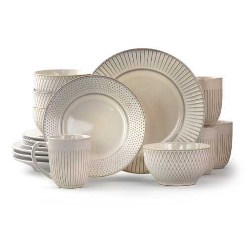 Elama Market Finds 16 Piece Round Stoneware Dinnerware Set in Embossed White