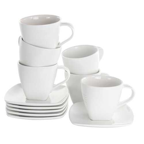 Elama Market Square 12 Piece 10 Ounce Porcelain Cup and Saucer Set in White