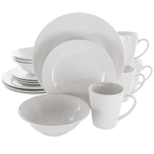 Elama Marshall 16 Piece Porcelain Dinnerware Set in White
