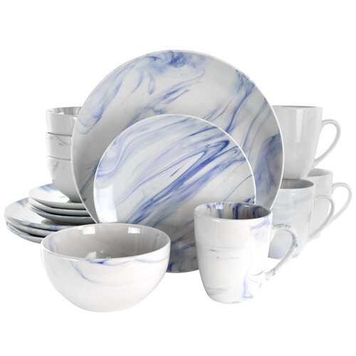 Elama Fine Marble 16 Piece Stoneware Dinnerware Set in Blue and White