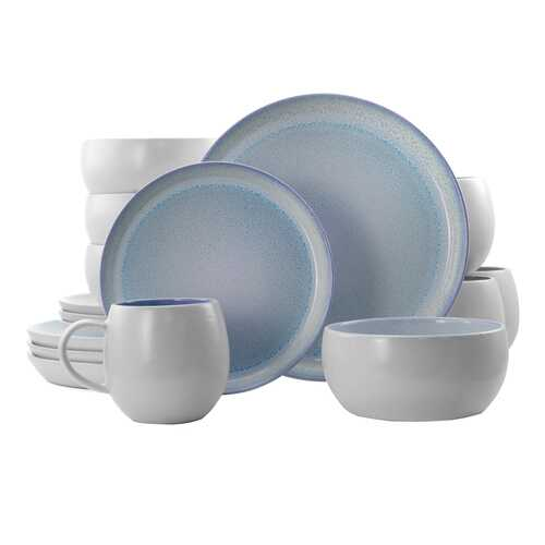Elama Mocha 16 Piece Stoneware Dinnerware Set in Blue