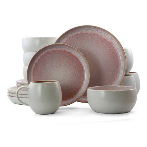 Elama Mocha Muave 16 Piece Luxurious Stoneware Dinnerware with Complete Setting for 4