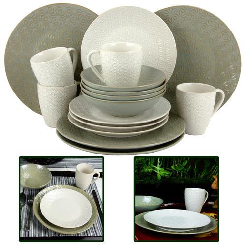Elama Olive Terrace 16 Piece Textured Dinnerware Set