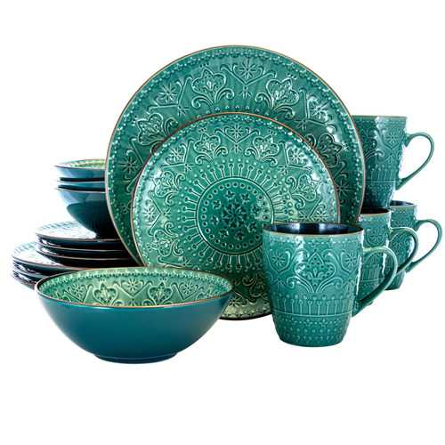 Elama Sea Foam Mozaic 16 Piece Luxurious Stoneware Dinnerware with Complete Setting for 4