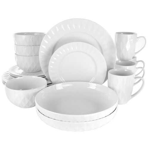 Elama Sienna 18 Piece Porcelain Dinnerware Set in White
