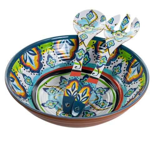 Elama Spanish Terrace 3 Piece Lightweight Melamine Salad Bowl Set with Servers