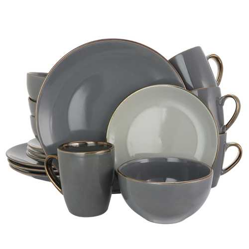 Elama Tahitian Grand 16 Piece Luxurious Stoneware Dinnerware Set in Stone and Slate with Complete Setting for 4