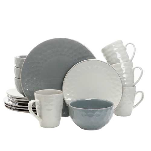 Elama Tahitian Pearl 16 Piece Stoneware Dinnerware Set in Slate and Stone Pearl