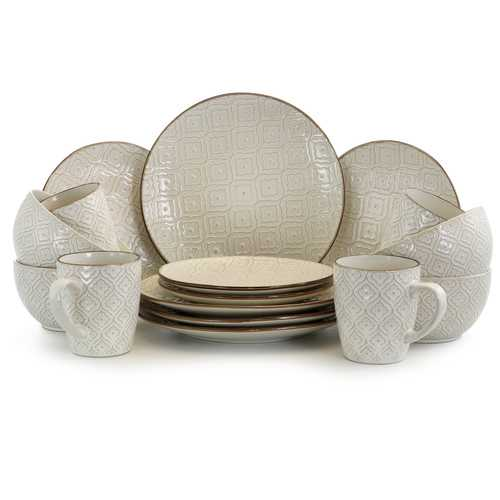 Elama White Lily 16 Piece Luxurious Stoneware Dinnerware with Complete Setting for 4