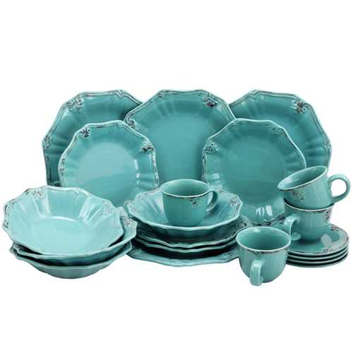 Elama Fleur De Lys 20-Piece Dinnerware Set in Turquoise