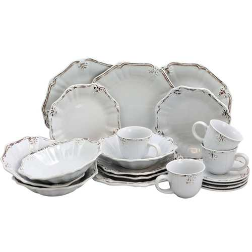 Elama Fleur De Lys 20-Piece Dinnerware Set in White