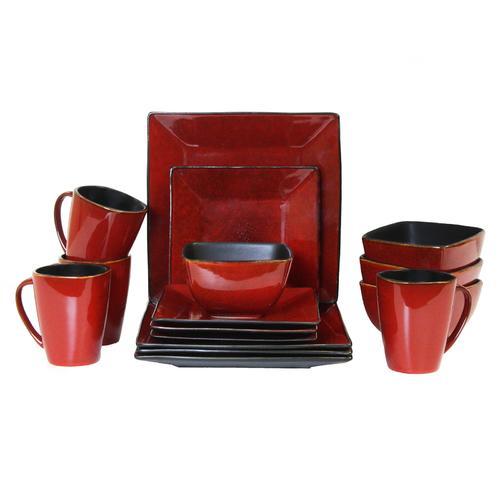 Elama Harland Loft 16 Piece Modern Premium Stoneware set with Complete Setting for 4