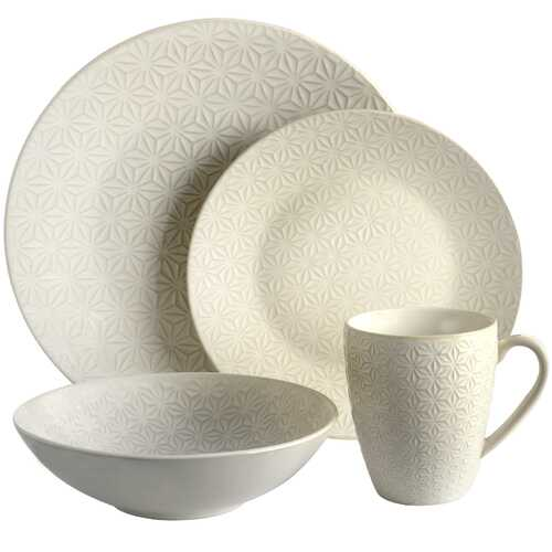 Elama Ivory Terrace 4 Piece Textured Dinnerware Set