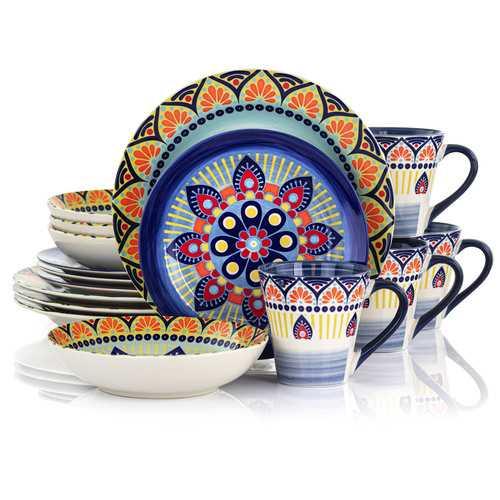 Elama Zen Blue Mozaik 16 Piece Luxurious Stoneware Dinnerware with Complete Setting for 4, 16pc