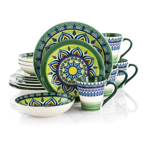 Elama Zen Green Mozaik 16 Piece Luxurious Stoneware Dinnerware with Complete Setting for 4, 16pc