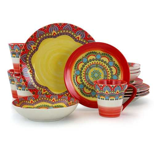 Elama Zen Red Mozaik 16 Piece Luxurious Stoneware Dinnerware with Complete Setting for 4, 16pc