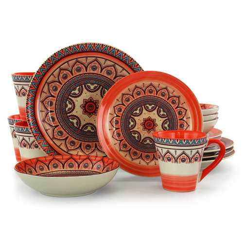 Elama Zen Rust Mozaik 16 Piece Dinnerware Set