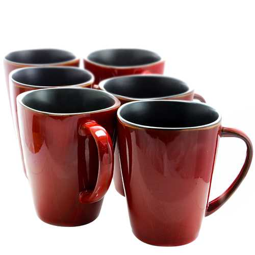Elama Harland 14 Ounce 6 Piece Luxe and Large Stoneware Dinner Mugs in Red