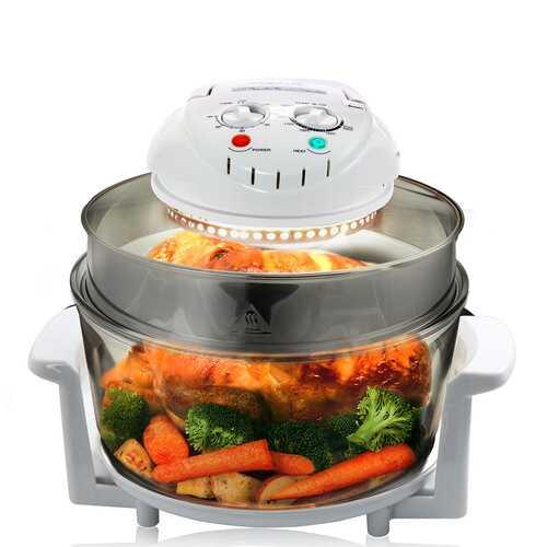 MegaChef Multipurpose Countertop 14.25 Inch Halogen Oven Air Fryer/Rotisserie/Roaster in White