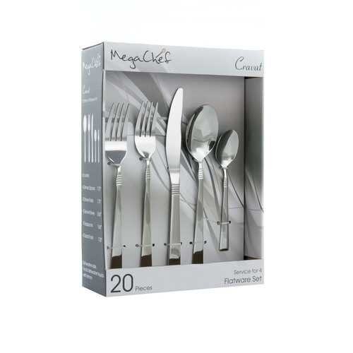 MegaChef Cravat 20 Piece Flatware Utensil Set, Stainless Steel Silverware Metal Service for 4 in Silver