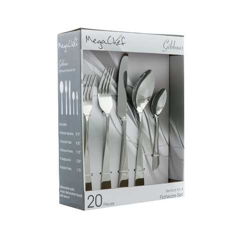 MegaChef Gibbous 20 Piece Flatware Utensil Set, Stainless Steel Silverware Metal Service for 4 in Silver