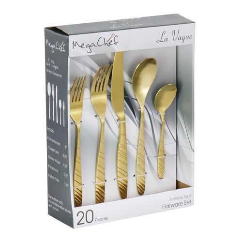 Megachef La Vague 20 Piece Flatware Utensil Set, Stainless Steel Silverware Metal Service for 4 in Matte Gold