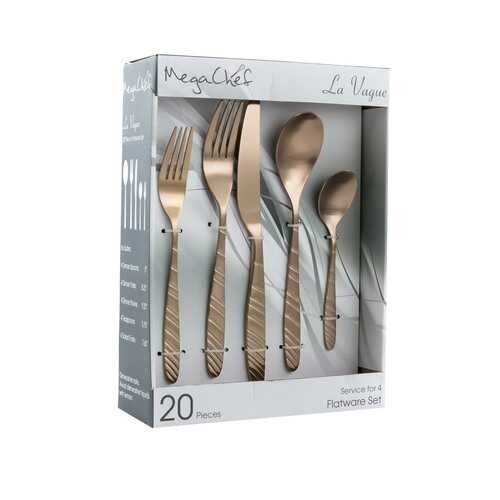 MegaChef La Vague 20 Piece Flatware Utensil Set, Stainless Steel Silverware Metal Service for 4 in Matte Rose Gold