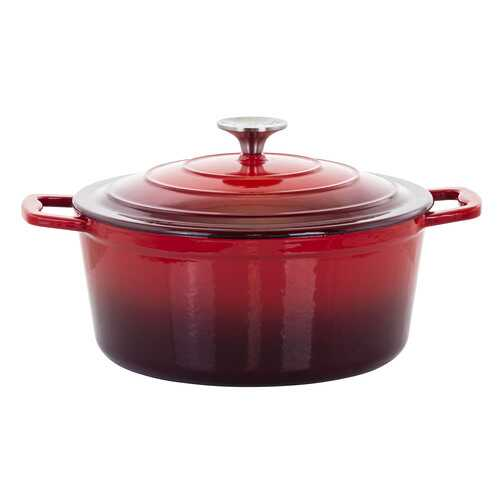 MegaChef 4 Quarts Round Enameled Cast Iron Casserole with Lid in Red