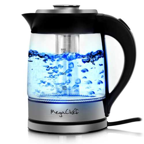 MegaChef 1.8 Liter Cordless Glass and Stainless Steel Electric Tea Kettle with Tea Infuser