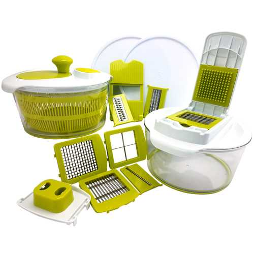 MegaChef 10-in-1 Multi-Use Salad Spinning Slicer, Dicer and Chopper with Interchangeable Blades and Storage Lids
