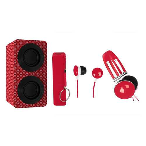 Naxa Portable Bluetooth® Stereo Speakers Entertainment Pack-Red