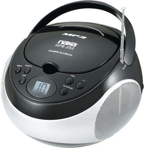 Naxa Portable MP3/CD Player with AM/FM Stereo Radio- Black