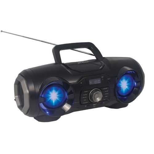 Portable Bluetooth/MP3/CD/USB/FM PLL Stereo Radio with Disco LED Light