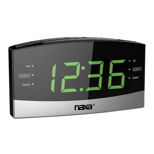 Naxa Bluetooth Easy-Read Dual Alarm Clock with Daily Repeat and USB Charge Port
